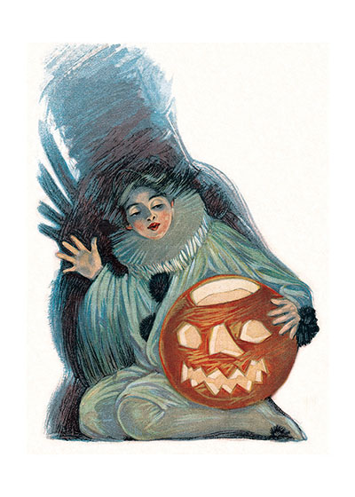 Costumed Girl with a Pumpkin This girl in her ruff and antique clown costume has a fine Jack-o-Lantern to show.  These prints are made at our location in Seattle, WA. They have a thick, white backing board and are sealed in clear bags. Each is suitable for framing at 11 inches x 14 inches or can be used as is for wall display. Our goal is to bring back to life these wonderful illustrations from old-fashioned, children's books and from early advertising art.