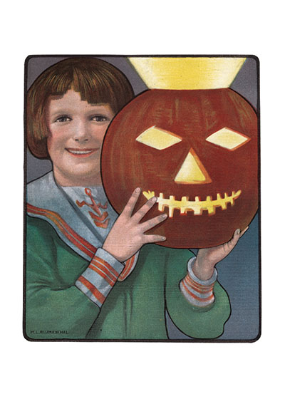 Happy Boy with a Brilliantly Lit Pumpkin This boy in his sailor suit is obviously very proud of his Jack-O-Lantern.  These prints are made at our location in Seattle, WA. They have a thick, white backing board and are sealed in clear bags. Each is suitable for framing at 11 inches x 14 inches or can be used as is for wall display. Our goal is to bring back to life these wonderful illustrations from old-fashioned, children's books and from early advertising art.