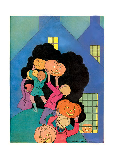 Children Parading with Jack-o-Lanterns An Art Deco style, rather abstract, scene of children marching with their Halloween pumpkins.  Our blank notecards are custom printed at our location in Seattle, WA. They come bagged with an envelope. We love illustration art from old children's books and early, printed ephemera. These cards reflect this interest in bringing delightful art back to life.