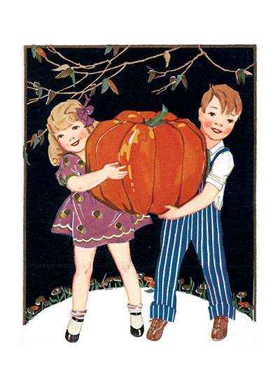 Two Children with a Giant Pumpkin I'll bet these children are going to have a fine time, but a hard job, carving that giant of a pumpkin.  Our prints are created by a process named for a French word for spray'.  The inks used in this process have a much higher resistance to fading than lithographic printing inks, which makes this kind of printing particularly suitable for prints being used in wall decor.   These prints are made at our location in Seattle, WA. They have a thick, white backing board and are sealed in clear bags. Each is suitable for framing at 11 inches x 14 inches or can be used as is for wall display. Our goal is to bring back to life these wonderful illustrations from old-fashioned, children's books and from early advertising art.