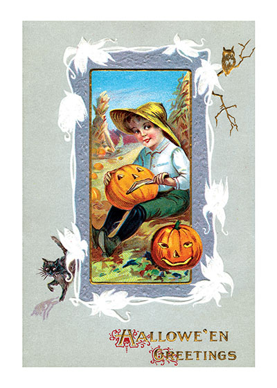 Boy Carving a Pumpkin in a Corn Field This antique postcard shows a country boy happily carving Jack-O-Lanterns out of the pumpkins that have grown, in traditional fashion, in the cornfield. It offers, Halloween Greetings.  Our prints are created by a process named for a French word for spray'.  The inks used in this process have a much higher resistance to fading than lithographic printing inks, which makes this kind of printing particularly suitable for prints being used in wall decor.   These prints are made at our location in Seattle, WA. They have a thick, white backing board and are sealed in clear bags. Each is suitable for framing at 11 inches x 14 inches or can be used as is for wall display. Our goal is to bring back to life these wonderful illustrations from old-fashioned, children's books and from early advertising art.