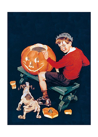A Dog Startled by a Pumpkin This mid-century boy is making a fine Jack-O-Lantern, but his dog is not so sure it's a good thing.   Our prints are created by a process named for a French word for spray'.  The inks used in this process have a much higher resistance to fading than lithographic printing inks, which makes this kind of printing particularly suitable for prints being used in wall decor.   These prints are made at our location in Seattle, WA. They have a thick, white backing board and are sealed in clear bags. Each is suitable for framing at 11 inches x 14 inches or can be used as is for wall display. Our goal is to bring back to life these wonderful illustrations from old-fashioned, children's books and from early advertising art.