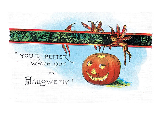 You'd Better Watch Out On Halloween! The fairies lighting the Jack-O-Lantern on his antique postcard image are righ in their warning if those monster faces are coming around!  Our blank notecards are custom printed at our location in Seattle, WA. They come bagged with an envelope. We love illustration art from old children's books and early, printed ephemera. These cards reflect this interest in bringing delightful art back to life.