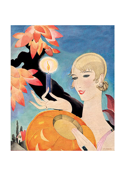 Deco Girl Lighting a Pumpkin | Classic Halloween Greeting Cards A stylish, very 1920's lady shows how elegant one can be while lighting a Jack-O-Lantern