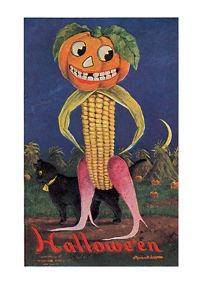 Bizarre Corn Man with a Pumpkin Head | Classic Halloween Art Prints The artists who illustrated postcards in the early 20th century didn't hesitate to put forward the most bizarre images, and apparently, given the proliferation of such flights of fancy, they were popular.  The is corn man with radish legs and a Jack-o-Lantern head, is a good example.