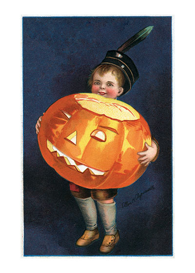 Boy Holding Big Pumpkin  BLANK INSIDE  Our blank notecards are custom printed at our location in Seattle, WA. They come bagged with an envelope. We love illustration art from old children's books and early, printed ephemera. These cards reflect this interest in bringing delightful art back to life