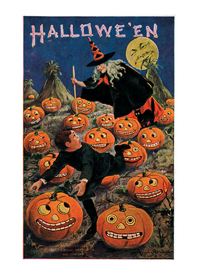 Witch and Weird Pumpkins | Classic Halloween Art Prints It's unclear what this witch is doing in a pumpkin patch.  Maybe she has just turned them all into Jack-O-Lanterns.  They look alive and probably are magicked.