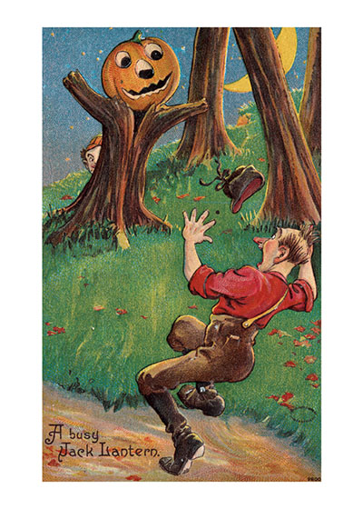 A Terrifying Sight Anyone would be as terrified as this man at the sight of a tree-man with a pumpkin head.  The boys playing the trick are highly gratified at the success of their invention.  Our prints are created by a process named for a French word for spray'.  The inks used in this process have a much higher resistance to fading than lithographic printing inks, which makes this kind of printing particularly suitable for prints being used in wall decor.   These prints are made at our location in Seattle, WA. They have a thick, white backing board and are sealed in clear bags. Each is suitable for framing at 11 inches x 14 inches or can be used as is for wall display. Our goal is to bring back to life these wonderful illustrations from old-fashioned, children's books and from early advertising art.