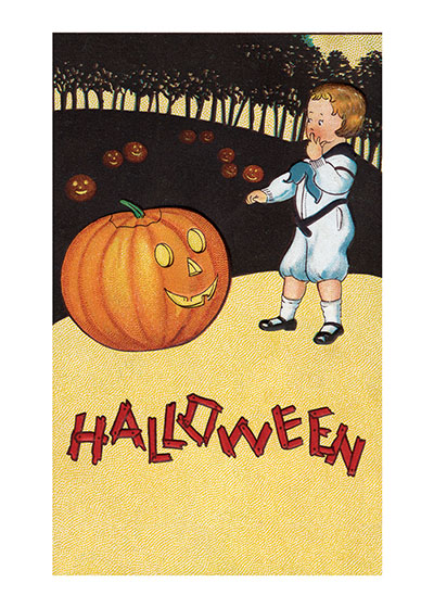 Boy Amused by a Jack-O-Lantern This Halloween pumpkin looks especially jolly.  Our prints are created by a process named for a French word for spray'.  The inks used in this process have a much higher resistance to fading than lithographic printing inks, which makes this kind of printing particularly suitable for prints being used in wall decor.   These prints are made at our location in Seattle, WA. They have a thick, white backing board and are sealed in clear bags. Each is suitable for framing at 11 inches x 14 inches or can be used as is for wall display. Our goal is to bring back to life these wonderful illustrations from old-fashioned, children's books and from early advertising art.