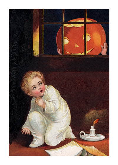 Jack-o-Lantern at Window | Classic Halloween Art Prints I don't blame that boy for being alarmed at that giant Jack-O-Lantern peering at him from outside his window.
