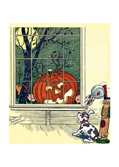 Dog Startled by a Jack-O-Lantern Human holidays like Halloween and Fourth of July are a trial to dogs. They just don't get the fun of sudden surprises and loud noises.  Our blank notecards are custom printed at our location in Seattle, WA. They come bagged with an envelope. We love illustration art from old children's books and early, printed ephemera. These cards reflect this interest in bringing delightful art back to life.