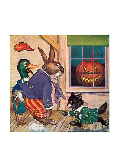 Animals Startled by a Jack-O-Lantern This rabbit, duck and cat may be in human clothes, but they obviously weren't ready for that Jack-O-Lantern in the window.  Our prints are created by a process named for a French word for spray'.  The inks used in this process have a much higher resistance to fading than lithographic printing inks, which makes this kind of printing particularly suitable for prints being used in wall decor.   These prints are made at our location in Seattle, WA. They have a thick, white backing board and are sealed in clear bags. Each is suitable for framing at 11 inches x 14 inches or can be used as is for wall display. Our goal is to bring back to life these wonderful illustrations from old-fashioned, children's books and from early advertising art.