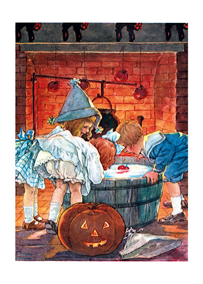 Children Bobbing for Apples Bobbing for apples is a traditional activity for Halloween parties and these children are clearly enjoying it.  Our prints are created by a process named for a French word for spray'.  The inks used in this process have a much higher resistance to fading than lithographic printing inks, which makes this kind of printing particularly suitable for prints being used in wall decor.   These prints are made at our location in Seattle, WA. They have a thick, white backing board and are sealed in clear bags. Each is suitable for framing at 11 inches x 14 inches or can be used as is for wall display. Our goal is to bring back to life these wonderful illustrations from old-fashioned, children's books and from early advertising art.