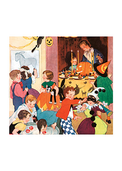 Children's Halloween Party The children at this party can play Pin the Tail on the Donkey, bob for apples, play Blind Man's Buff or enjoy delicious Halloween treats.  Our blank notecards are custom printed at our location in Seattle, WA. They come bagged with an envelope. We love illustration art from old children's books and early, printed ephemera. These cards reflect this interest in bringing delightful art back to life.