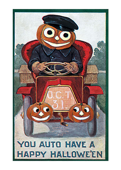 Pumpkin-man Driving an Antique Automobile This strange auto buff in his driving coat and hat says, You auto have a happy Halloween.  Our blank notecards are custom printed at our location in Seattle, WA. They come bagged with an envelope. We love illustration art from old children's books and early, printed ephemera. These cards reflect this interest in bringing delightful art back to life.