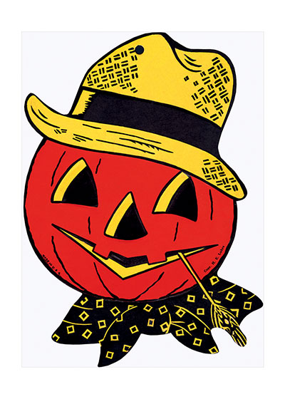 Jack-O-Lantern with Straw Hat and Neckerchief  BLANK INSIDE  Our blank notecards are custom printed at our location in Seattle, WA. They come bagged with an envelope. We love illustration art from old children's books and early, printed ephemera. These cards reflect this interest in bringing delightful art back to life