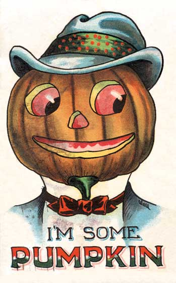 Dapper Jack-O-Lantern declaring, I'm some Pumpkin From a vintage postcard circa 1900  Our prints are created by a process named for a French word for spray'.  The inks used in this process have a much higher resistance to fading than lithographic printing inks, which makes this kind of printing particularly suitable for prints being used in wall decor.   These prints are made at our location in Seattle, WA. They have a thick, white backing board and are sealed in clear bags. Each is suitable for framing at 11 inches x 14 inches or can be used as is for wall display. Our goal is to bring back to life these wonderful illustrations from old-fashioned, children's books and from early advertising art.