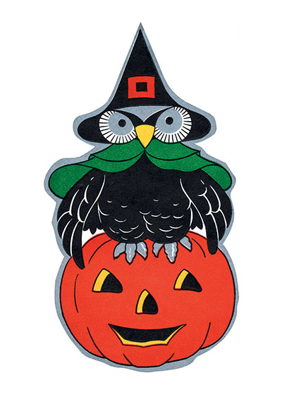 Halloween Owl Sitting on a Jack-o-Lantern | Classic Halloween Art Prints Our prints are created by a process named for a French word for spray'.  The inks used in this process have a much higher resistance to fading than lithographic printing inks, which makes this kind of printing particularly suitable for prints being used in wall decor.