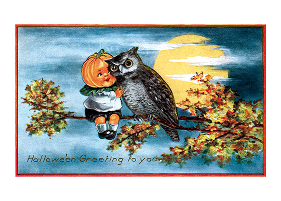 Owl and Pumpkin Girl The early 20th century craze for postcards led to some very strange ideas.  This is one peculiar Halloween greeting.  Our prints are created by a process named for a French word for spray'.  The inks used in this process have a much higher resistance to fading than lithographic printing inks, which makes this kind of printing particularly suitable for prints being used in wall decor.   These prints are made at our location in Seattle, WA. They have a thick, white backing board and are sealed in clear bags. Each is suitable for framing at 11 inches x 14 inches or can be used as is for wall display. Our goal is to bring back to life these wonderful illustrations from old-fashioned, children's books and from early advertising art.