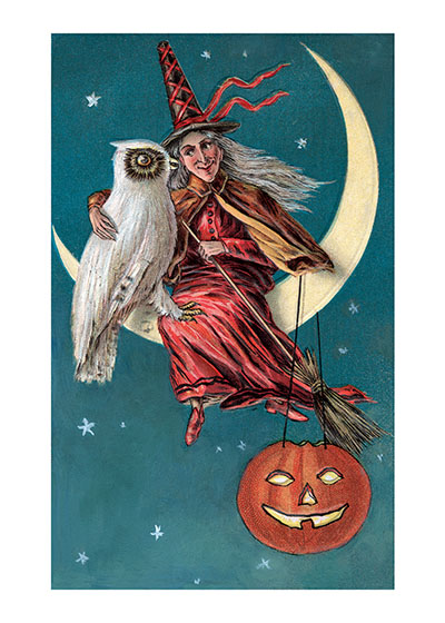 Witch with White Owl A witch, a Jack-O-Lantern a moon and an owlall the symbols of Halloween pictured together.  The white owl is particularly large and handsome.  Our prints are created by a process named for a French word for spray'.  The inks used in this process have a much higher resistance to fading than lithographic printing inks, which makes this kind of printing particularly suitable for prints being used in wall decor.   These prints are made at our location in Seattle, WA. They have a thick, white backing board and are sealed in clear bags. Each is suitable for framing at 11 inches x 14 inches or can be used as is for wall display. Our goal is to bring back to life these wonderful illustrations from old-fashioned, children's books and from early advertising art.