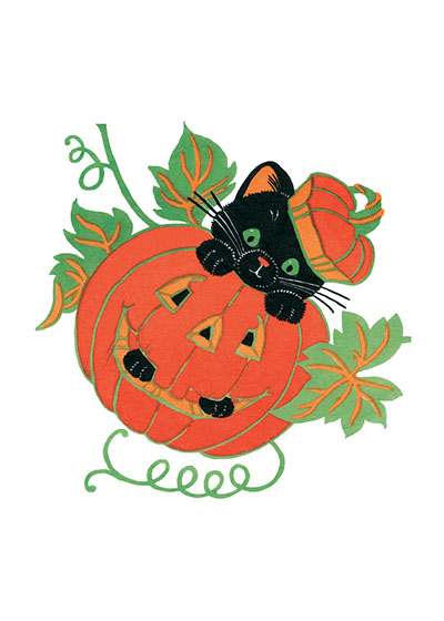 Cute Black Kitten in a Jack-o-Lantern Our prints are created by a process named for a French word for spray'.  The inks used in this process have a much higher resistance to fading than lithographic printing inks, which makes this kind of printing particularly suitable for prints being used in wall decor.   These prints are made at our location in Seattle, WA. They have a thick, white backing board and are sealed in clear bags. Each is suitable for framing at 11 inches x 14 inches or can be used as is for wall display. Our goal is to bring back to life these wonderful illustrations from old-fashioned, children's books and from early advertising art.