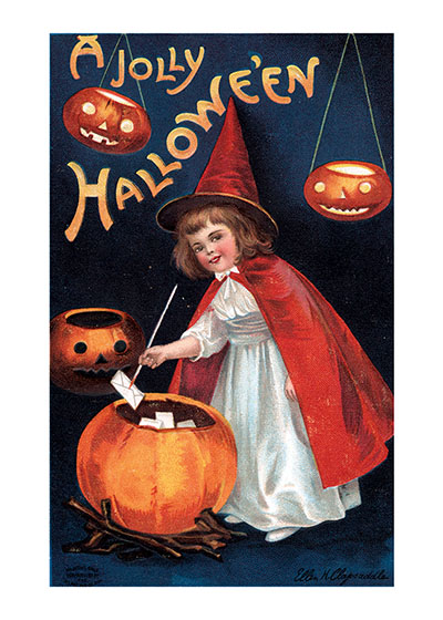 Girl Witch Burning wishes to release them into the cosmos is an old New Year tradition, but apparently it was also a Halloween tradition in the early 20th century when this postcard image was created by Ellen Clapsaddle.  Our prints are created by a process named for a French word for spray'.  The inks used in this process have a much higher resistance to fading than lithographic printing inks, which makes this kind of printing particularly suitable for prints being used in wall decor.   These prints are made at our location in Seattle, WA. They have a thick, white backing board and are sealed in clear bags. Each is suitable for framing at 11 inches x 14 inches or can be used as is for wall display. Our goal is to bring back to life these wonderful illustrations from old-fashioned, children's books and from early advertising art.