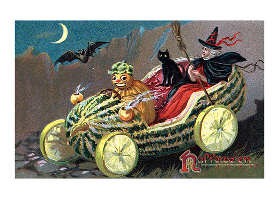 Watermelon Car This bizarre image of a witch riding in watermelon with lemon-slice wheels and a wild-eyed pumpkin driver is very much of it's time-the early 20th century postcard world.  Our blank notecards are custom printed at our location in Seattle, WA. They come bagged with an envelope. We love illustration art from old children's books and early, printed ephemera. These cards reflect this interest in bringing delightful art back to life.