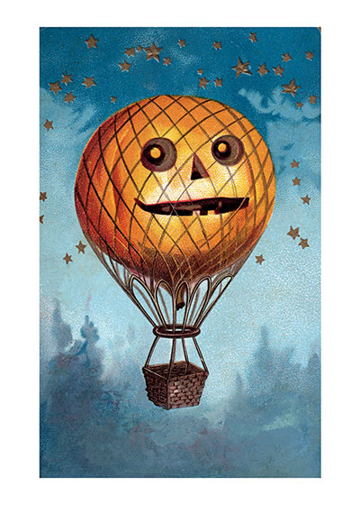 Hot Air Pumpkin Our prints are created by a process named for a French word for spray'.  The inks used in this process have a much higher resistance to fading than lithographic printing inks, which makes this kind of printing particularly suitable for prints being used in wall decor.   These prints are made at our location in Seattle, WA. They have a thick, white backing board and are sealed in clear bags. Each is suitable for framing at 11 inches x 14 inches or can be used as is for wall display. Our goal is to bring back to life these wonderful illustrations from old-fashioned, children's books and from early advertising art.