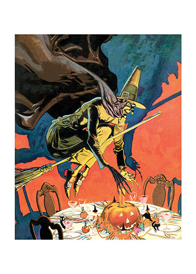 Witch on a Broomstick Hovering over a Halloween Party Table | Classic Halloween Greeting Cards