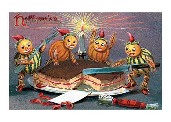 Gourd Elves Cutting a Cake | Classic Halloween Greeting Cards A vintage postcard image with a place for a name to be inscribed.
