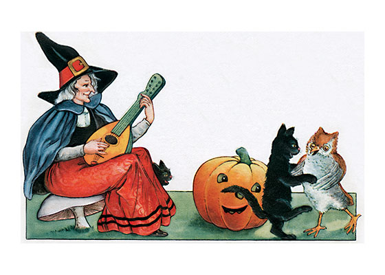 "Witch Playing Music for Dancing Cats | Classic Halloween Art Prints ""Our prints are created by a process named for a French word for spray'.  The inks used in this process have a much higher resistance to fading than lithographic printing inks, which makes this kind of printing particularly suitable for prints being used in wall decor."