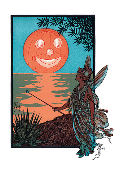 Fairy & Pumpkin Moon Inside Greeting:  Halloween Greetings  This mysterious fairy seems to have turned the rising moon into a Jack-o-Lantern.  Our greeting cards are custom printed at our location in Seattle, WA. They come bagged with an envelope. We love illustration art from old children's books and early, printed ephemera. These cards reflect this interest in bringing delightful art back to life.