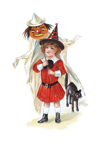 Boy in Halloween Hat with Pumpkin Ghost and Black Cat | Classic Halloween Greeting Cards Our blank notecards are custom printed at our location in Seattle, WA. They come bagged with an envelope. We love illustration art from old children's books and early, printed ephemera. These cards reflect this interest in bringing delightful art back to life.