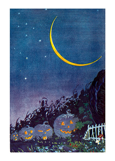 Jack-o-Lanterns in the night with a lovely crescent moon. Inside Greeting: Happy Halloween  Our greeting cards are custom printed at our location in Seattle, WA. They come bagged with an envelope. We love illustration art from old children's books and early, printed ephemera. These cards reflect this interest in bringing delightful art back to life