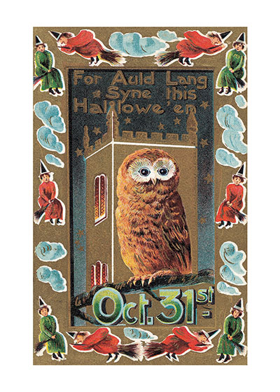 Owl with Message, For Auld Lang Syne This Halloween | Classic Halloween Art Prints Our prints are created by a process named for a French word for spray'.  The inks used in this process have a much higher resistance to fading than lithographic printing inks, which makes this kind of printing particularly suitable for prints being used in wall decor.