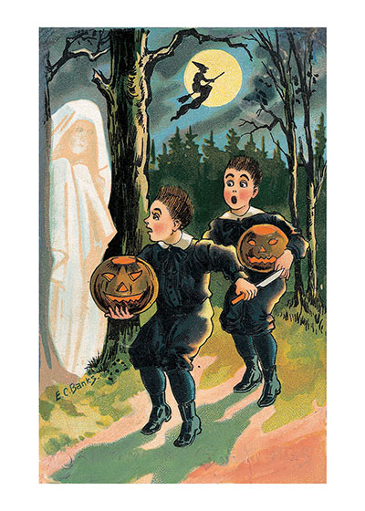 A Ghost! | Classic Halloween Art Prints Specters in the woods and Witches riding in the night make a very scary Halloween.