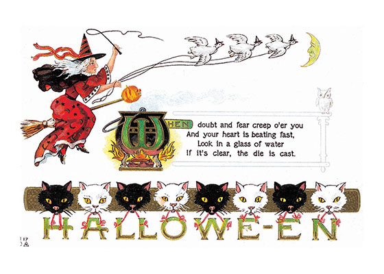 Witch on a broomstick with Geese and Cats | Classic Halloween Greeting Cards