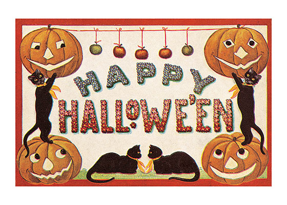 Happy Halloween Greeting with Black Cats and Pumpkins  BLANK INSIDE  Our blank notecards are custom printed at our location in Seattle, WA. They come bagged with an envelope. We love illustration art from old children's books and early, printed ephemera. These cards reflect this interest in bringing delightful art back to life