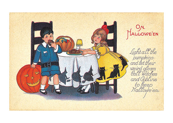Halloween Party Table with Boy and Girl | Classic Halloween Greeting Cards Our blank notecards are custom printed at our location in Seattle, WA. They come bagged with an envelope. We love illustration art from old children's books and early, printed ephemera. These cards reflect this interest in bringing delightful art back to life.