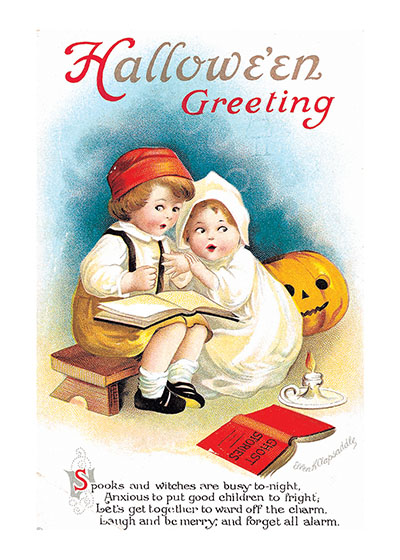 Reading Ghost Stories | Classic Halloween Greeting Cards Our blank notecards are custom printed at our location in Seattle, WA. They come bagged with an envelope. We love illustration art from old children's books and early, printed ephemera. These cards reflect this interest in bringing delightful art back to life.