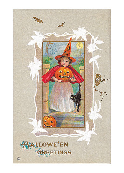"Girl Witch Bringing Halloween Greetings | Classic Halloween Art Prints ""Our prints are created by a process named for a French word for spray'.  The inks used in this process have a much higher resistance to fading than lithographic printing inks, which makes this kind of printing particularly suitable for prints being used in wall decor."