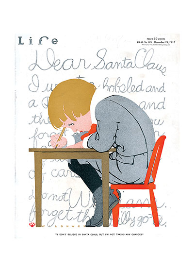 Dear Santa... | Magazine Covers Christmas Art Prints These prints are made at our location in Seattle, WA. They have a thick, white backing board and are sealed in clear bags. Each is suitable for framing at 11 inches x 14 inches or can be used as is for wall display. Our goal is to bring back to life these wonderful illustrations from old-fashioned, children's books and from early advertising art.