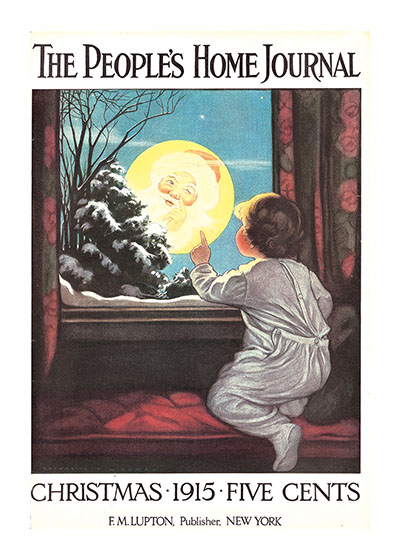 Seeing Santa in the Moon | Magazine Covers Christmas Art Prints These prints are made at our location in Seattle, WA. They have a thick, white backing board and are sealed in clear bags. Each is suitable for framing at 11 inches x 14 inches or can be used as is for wall display. Our goal is to bring back to life these wonderful illustrations from old-fashioned, children's books and from early advertising art.
