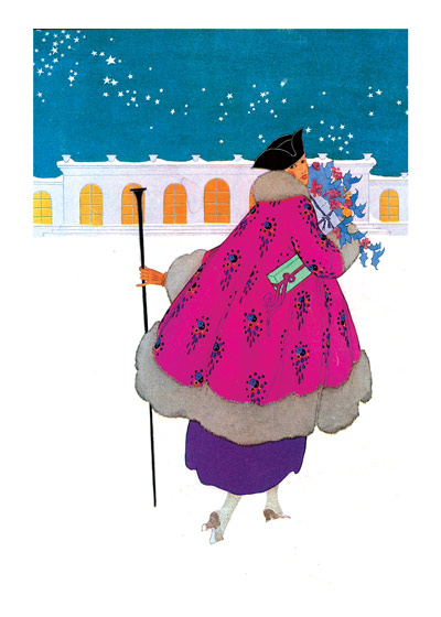 Woman in Pink Coat  BLANK INSIDE  Our blank notecards are custom printed at our location in Seattle, WA. They come bagged with an envelope. We love illustration art from old children's books and early, printed ephemera. These cards reflect this interest in bringing delightful art back to life