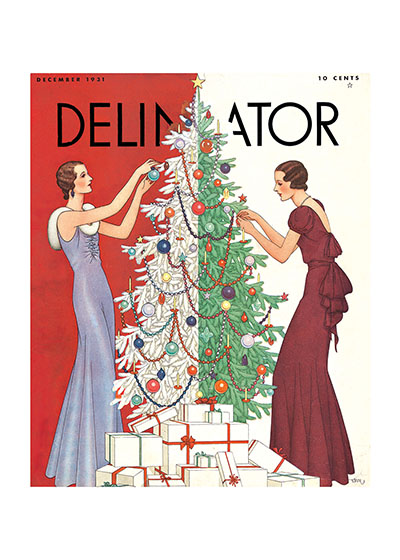 Two Fashionable Ladies Decorating The Tree | Magazine Covers Christmas Greeting Cards Our blank notecards are custom printed at our location in Seattle, WA. They come bagged with an envelope. We love illustration art from old children's books and early, printed ephemera. These cards reflect this interest in bringing delightful art back to life.