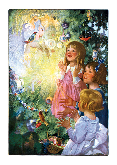 Christmas Fairy | Children Enjoying Christmas Greeting Cards We can understand why his lovely image of an angel bringing a Christmas has long been a favorite with our customers.  It was taken from an antique postcard and the beautiful subtle colors are a testiment to the anonymous but obviously highly skilled lithographer who made it.