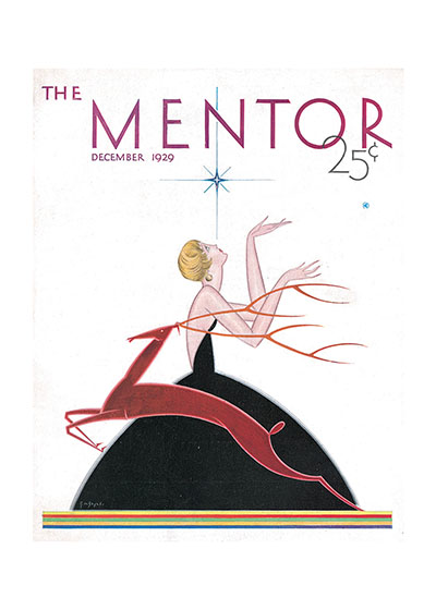 MENTOR Christmas Cover  BLANK INSIDE  Our blank notecards are custom printed at our location in Seattle, WA. They come bagged with an envelope. We love illustration art from old children's books and early, printed ephemera. These cards reflect this interest in bringing delightful art back to life.