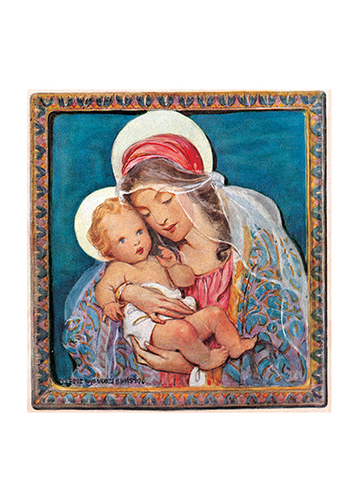 Madonna and Child Christmas Card These prints are made at our location in Seattle, WA. They have a thick, white backing board and are sealed in clear bags. Each is suitable for framing at 11 inches x 14 inches or can be used as is for wall display. Our goal is to bring back to life these wonderful illustrations from old-fashioned, children's books and from early advertising art.
