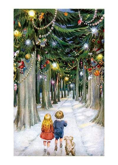 Children in a Christmas Forest Don't we all wish we could accompany these children in their walk in this magical Christmas forest?  This image beautifully conveys the wonder and beauty that children, as we all should, find at Christmas.  These prints are made at our location in Seattle, WA. They have a thick, white backing board and are sealed in clear bags. Each is suitable for framing at 11 inches x 14 inches or can be used as is for wall display. Our goal is to bring back to life these wonderful illustrations from old-fashioned, children's books and from early advertising art.