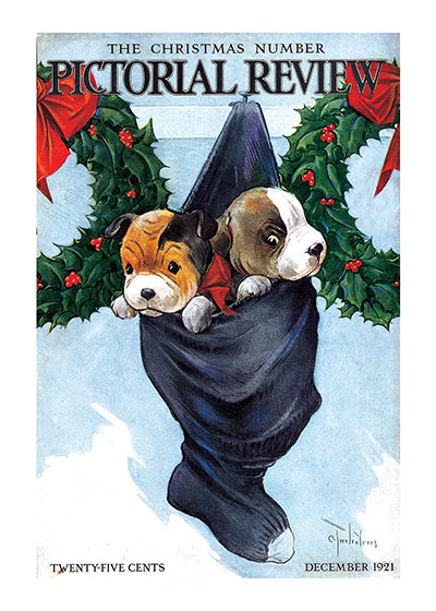 Puppies in a Christmas Stocking These prints are made at our location in Seattle, WA. They have a thick, white backing board and are sealed in clear bags. Each is suitable for framing at 11 inches x 14 inches or can be used as is for wall display. Our goal is to bring back to life these wonderful illustrations from old-fashioned, children's books and from early advertising art.